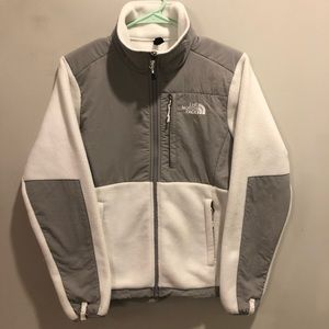 The north face Denali jacket white and gray